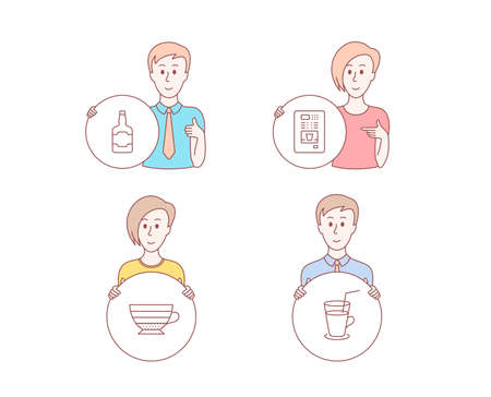 People hand drawn style. Set of Whiskey bottle, Cappuccino and Coffee vending icons. Cocktail sign. Scotch alcohol, Coffee cup, Fresh beverage.  Character hold circle button. Man with like hand Illustration