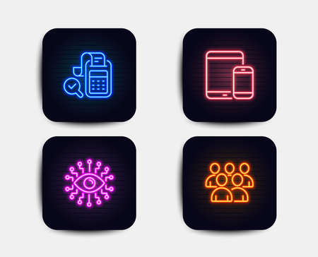 Neon glow lights. Set of Bill accounting, Mobile devices and Artificial intelligence icons. Group sign. Audit report, Smartphone with tablet, All-seeing eye. Developers.  Neon icons. Vector Illustration