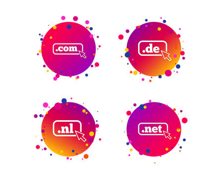 Top-level internet domain icons. De, Com, Net and Nl symbols with cursor pointer. Unique national DNS names. Gradient circle buttons with icons. Random dots design. Vector Illustration