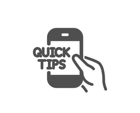 Quick tips on phone icon. Helpful tricks sign. Internet tutorials symbol. Quality design element. Classic style icon. Vector Illustration