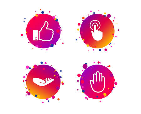 Hand icons. Like thumb up symbol. Click here press sign. Helping donation hand. Gradient circle buttons with icons. Random dots design. Vector Illustration