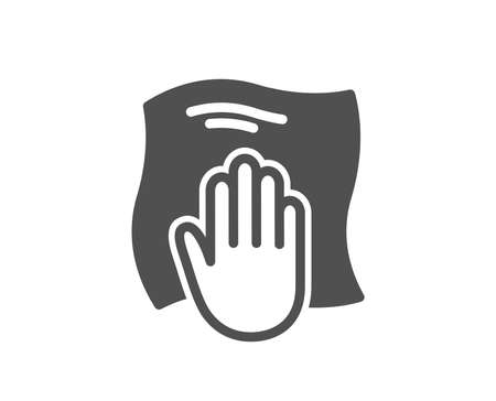 Symbol für Reinigungstuch. Mit einem Lappensymbol abwischen. Zeichen für Haushaltsgeräte. Hochwertiges Gestaltungselement. Symbol im klassischen Stil. Vektor