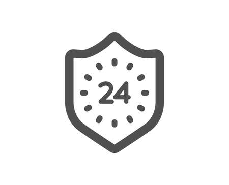 24 hours protection icon. Shield sign. Quality design element. Classic style icon. Vector