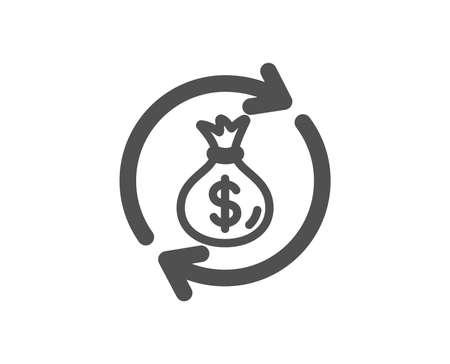 Cash exchange icon. Dollar money bag symbol. Money transfer sign. Quality design element. Classic style icon. Vector