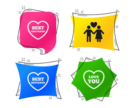 Valentine day love icons. Best girlfriend and boyfriend symbol. Couple lovers sign. Geometric colorful tags. Banners with flat icons. Trendy design. Vector Illustration