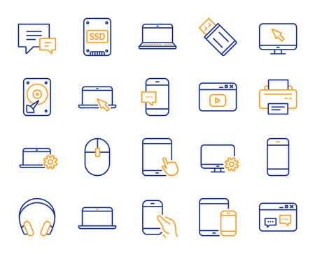 Mobile device line icons. Laptop, Tablet PC and Smartphone icons. HDD, SSD and Flash drive. Headphones, Printer and tablet device. Mouse, ssd disk, mobile laptop. Memory hdd drive. Vector