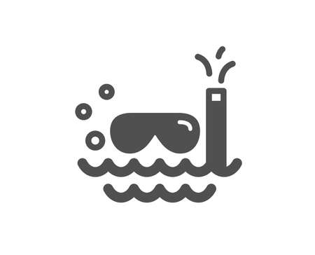 Travel scuba diving icon. Trip swimming sign. Holidays symbol. Quality design element. Classic style icon. Vector Иллюстрация