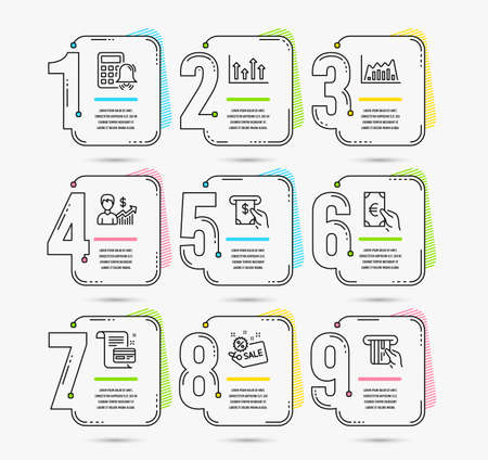 Infographic template with numbers 9 options. Set of Business growth, Calculator alarm and Atm service icons. Upper arrows, Infographic graph and Sale signs. Vector