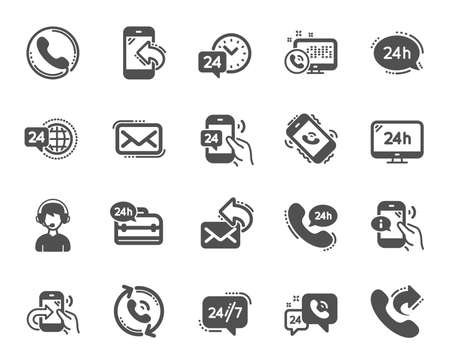 Processing icons. Set of Callback or feedback, Call support and Chat message icons. 24 hour service, Call centre, 24/7. Telephone callback, support message, feedback phone center. Vector Stock Illustratie