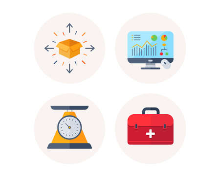 Set of Parcel delivery, Analytics graph and Weight scale icons. First aid sign. Tracking box, Computer presentation, Health diet. Emergency help. Colorful icons in round buttons. Vector