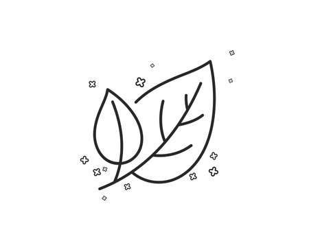 Leaves line icon. Nature plant leaf sign. Environmental care symbol. Geometric shapes. Random cross elements. Linear Leaf icon design. Vector Banque d'images - 125985867