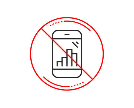 No or stop sign. Graph phone line icon. Column chart sign. Growth diagram symbol. Caution prohibited ban stop symbol. No  icon design.  Vector Illustration