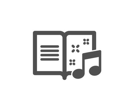 Music book icon. Musical note sign. Quality design element. Classic style icon. Vector Illustration