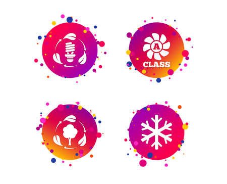Fresh air icon. Forest tree with leaves sign. Fluorescent energy lamp bulb symbol. A-class ventilation. Air conditioning symbol. Gradient circle buttons with icons. Random dots design. Vector Standard-Bild - 115602397