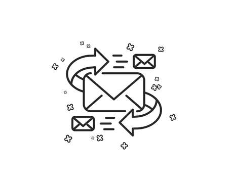 Mail line icon. Communication by letters symbol. E-mail chat sign. Geometric shapes. Random cross elements. Linear E-Mail icon design. Vector Ilustrace