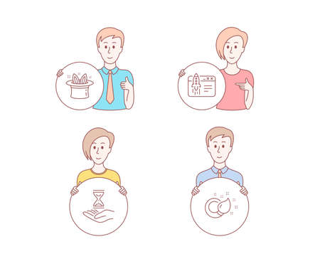 People hand drawn style. Set of Hat-trick, Start business and Time hourglass icons. Paint brush sign. Magic hat, Launch idea, Sand watch. Creativity.  Character hold circle button. Man with like hand