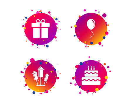Birthday party icons. Cake and gift box signs. Air balloons and fireworks rockets symbol. Gradient circle buttons with icons. Random dots design. Vector