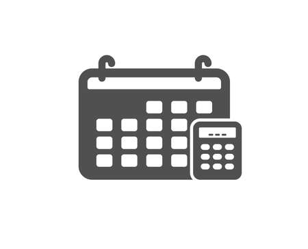 Calendar with calculator icon. Accounting sign. Calculate finance symbol. Quality design element. Classic style icon. Vector