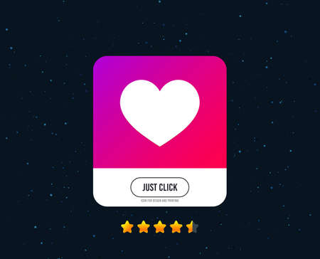 Love icon. Heart sign symbol. Web or internet icon design. Rating stars. Just click button. Vector