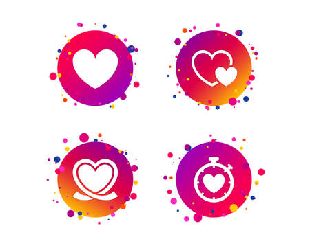 Heart ribbon icon. Timer stopwatch symbol. Love and Heartbeat palpitation signs. Gradient circle buttons with icons. Random dots design. Vector Ilustração