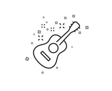 Acoustic guitar line icon. Music sign. Musical instrument symbol. Geometric shapes. Random cross elements. Linear Guitar icon design. Vector Ilustração