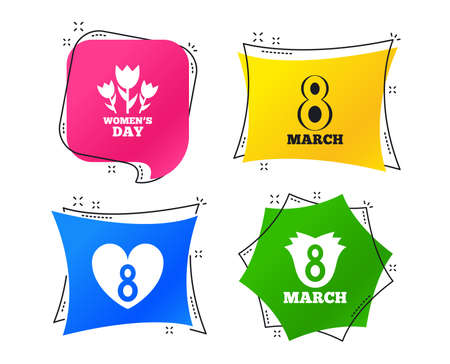 8 March Women's Day icons. Tulips or rose flowers bouquet and heart sign symbols. Geometric colorful tags. Banners with flat icons. Trendy design. Vector Illustration