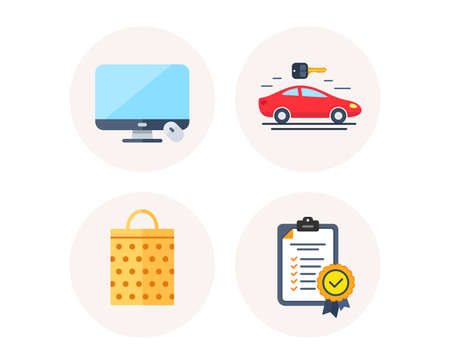 Set of Sale bag, Computer display and Carsharing icons. In compliance sign. Shopping mall, Monitor device, Car rental. Certified checklist. Colorful icons in round buttons. Vector