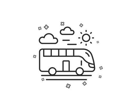 Bus travel line icon. Trip transport sign. Holidays vehicle symbol. Geometric shapes. Random cross elements. Linear Bus travel icon design. Vector Ilustracja