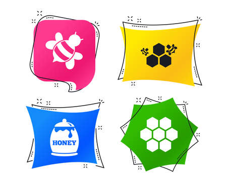 Honey icon. Honeycomb cells with bees symbol. Sweet natural food signs. Geometric colorful tags. Banners with flat icons. Trendy design. Vector Ilustração