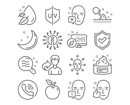 Set of Uv protection, Skin condition and Face declined icons. Water drop, Face biometrics and Skin cream signs. Ultraviolet, Search magnifier, Identification error. Vector Ilustração