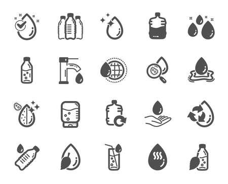 Iconos de gota de agua. Conjunto de iconos de botella, filtro antibacteriano y agua del grifo. Botella de barril de bacterias, enfriador y recarga. Gota de líquido, limpiador antibacteriano y máquina de bebidas, grifo. Elemento de diseño de calidad Ilustración de vector