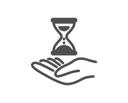 Time hourglass in hand icon. Sand watch sign. Quality design element. Classic style icon. Vector Çizim