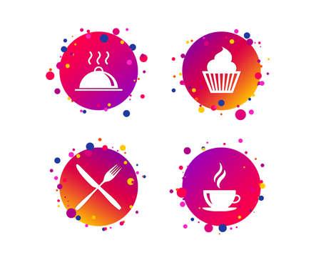 Icone di cibi e bevande. Simbolo di muffin cupcake. Segno di forchetta e coltello. Tazza di caffè calda. Piatto di cibo che serve. Pulsanti del cerchio sfumato con icone. Design a punti casuali. Vettore