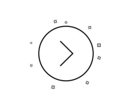 Forward arrow line icon. Next Arrowhead symbol. Next navigation pointer sign. Geometric shapes. Random cross elements. Linear Forward icon design. Vector