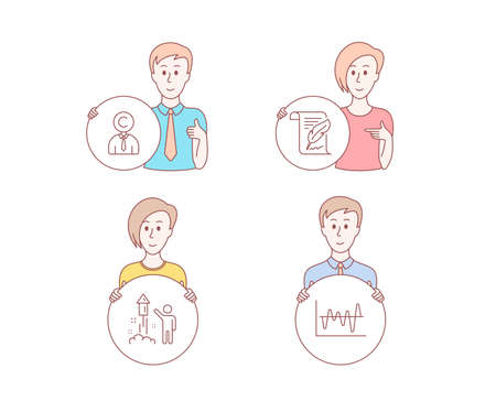 People hand drawn style. Set of Copyrighter, Feather and Fireworks icons. Stock analysis sign. Writer person, Copyright page, Party pyrotechnic. Business trade.  Character hold circle button. Vector Illusztráció