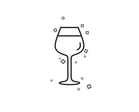 Wine glass line icon. Bordeaux glass sign. Geometric shapes. Random cross elements. Linear Bordeaux glass icon design. Vector