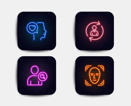 Luces de neón. Conjunto de iconos de conversación romántica, información de persona y búsqueda de usuario. Señal de detección de rostros. Me encanta el chat, actualiza los datos del usuario, busca a la persona. Iconos de neón. Banners de luz brillante. Vector