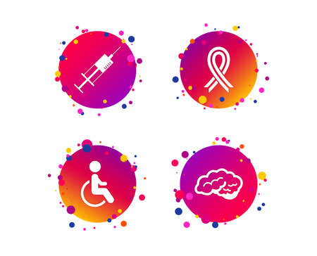 Medicine icons. Syringe, disabled, brain and ribbon signs. Breast cancer awareness symbol. Handicapped invalid. Gradient circle buttons with icons. Random dots design. Vector Illustration