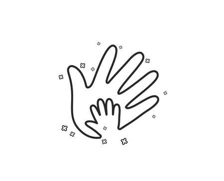 Hand line icon. Social responsibility sign. Honesty, collaboration symbol. Geometric shapes. Random cross elements. Linear Social responsibility icon design. Vector Illustration