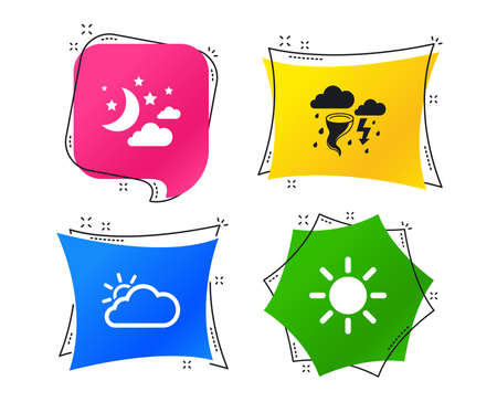 Weather icons. Moon and stars night. Cloud and sun signs. Storm or thunderstorm with lightning symbol. Geometric colorful tags. Banners with flat icons. Trendy design. Vector Illustration