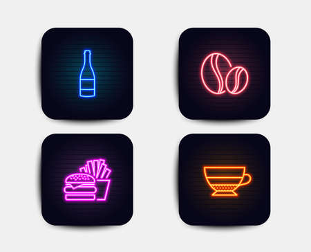 Neon glow lights. Set of Burger, Champagne bottle and Coffee beans icons. Americano sign. Cheeseburger, Anniversary alcohol, Whole bean. Beverage cup. Neon icons. Glowing light banners. Vector