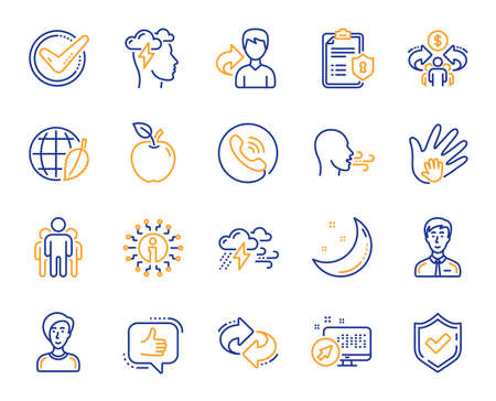 Check mark, Sharing economy and Mindfulness stress, Breath people line icons. Privacy Policy, Social Responsibility, Breath icons. Bad weather, Tick check mark, sharing refer, stress. Vector
