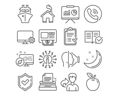 Set of Home, Approved documentation and Atm icons. Ship, Approved checklist and Typewriter signs. Face id, Presentation and Monitor settings symbols. House building, Instruction book, Money withdraw