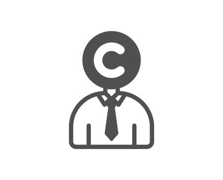 Copyrighter icon. Writer person sign. Copywriting symbol. Quality design element. Classic style icon. Vector