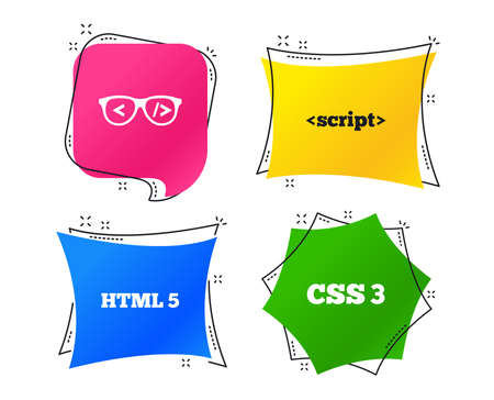 Programmer coder glasses icon. HTML5 markup language and CSS3 cascading style sheets sign symbols. Geometric colorful tags. Banners with flat icons. Trendy design. Vector Illustration