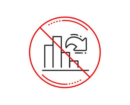 No or stop sign. Decreasing graph line icon. Column chart sign. Market analytics symbol. Caution prohibited ban stop symbol. No  icon design.  Vector Illustration