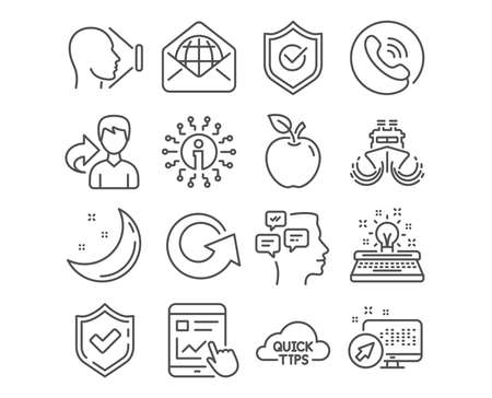 Set of Ship, Internet report and Typewriter icons. Face id, Web mail and Approved shield signs. Quick tips, Messages and Reload symbols. Shipping watercraft, Web tutorial, Inspiration. Vector
