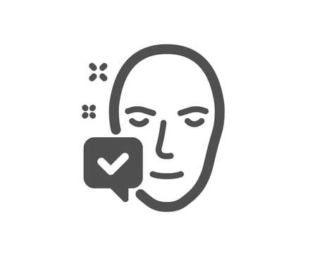 Face accepted icon. Access granted sign. Facial identification success symbol. Quality design element. Classic style icon. Vector Ilustracja