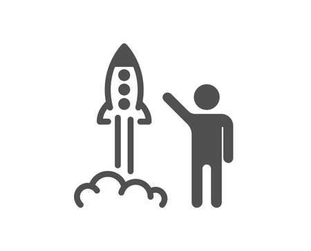 Launch project icon. Startup rocket sign. Innovation symbol. Quality design element. Classic style icon. Vector