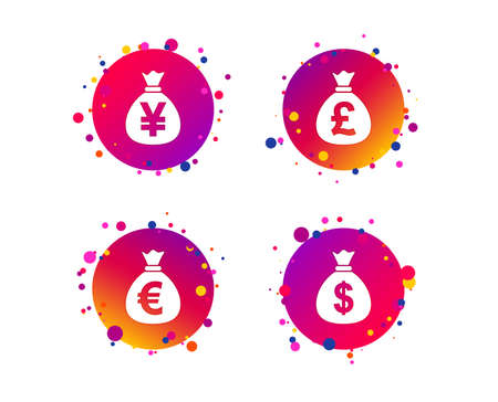 Money bag icons. Dollar, Euro, Pound and Yen symbols. USD, EUR, GBP and JPY currency signs. Gradient circle buttons with icons. Random dots design. Vector Illustration